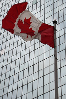 Canada flag flying in front of an office skyscraper