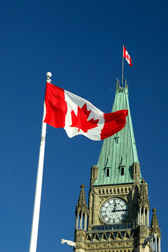 Canadian flag flying in Ottawa, Canada