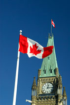 Canadian flag flying in Ottawa, Canada